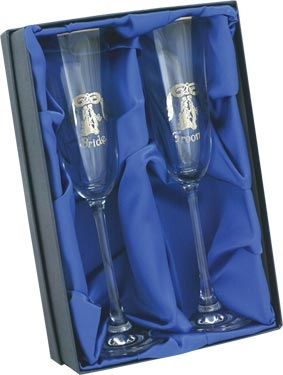 'Bride and Groom' Glass Champagne Flutes