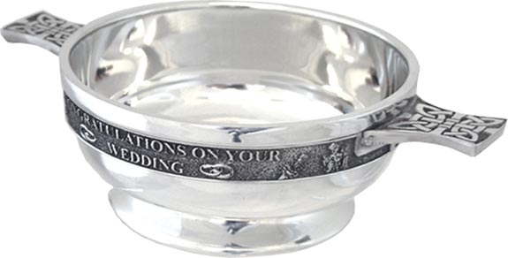 Pewter Quaich Bowl - 'Congratulations On Your Wedding'