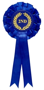 Blue 2nd Place Two Tier Rosette
