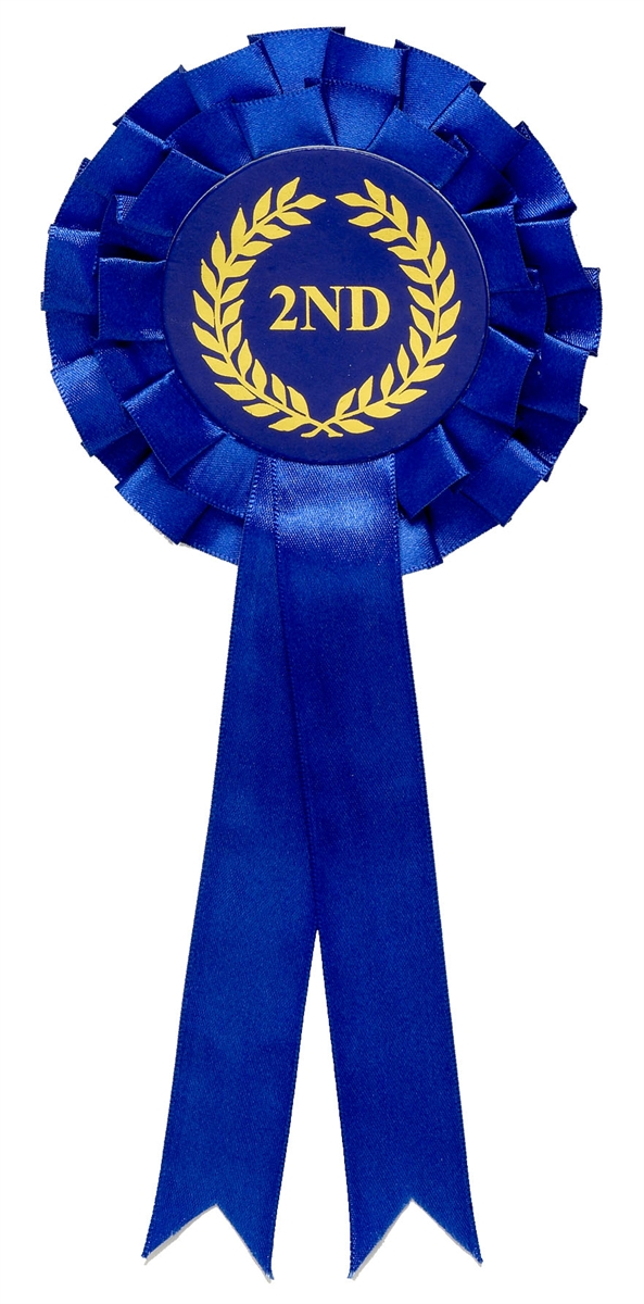 Blue 2nd Place Two Tier Rosette zoomed