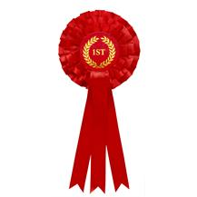Red 1st Place Three Tier Rosette