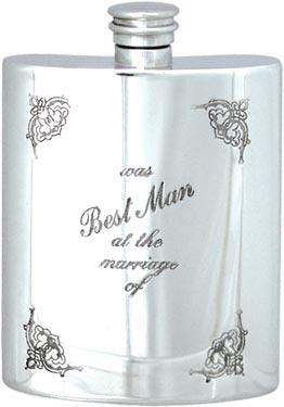 Pewter 6oz Hip Flask - Wedding 'Best Man'