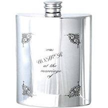 Pewter 6oz Hip Flask - Wedding 'Usher'