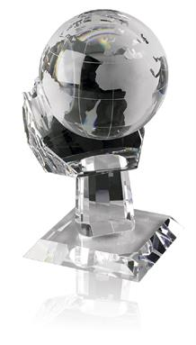 Optical Crystal Globes on Palms - Available in 3 sizes