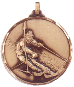 Faceted Skiing Medal - Slalom