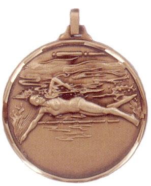 Faceted Swimming Medal - Female (side view)