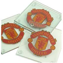 Man Utd Glass Coasters (Pack of 4)