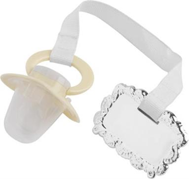 Child's Pacifier / Dummy with Silver Plated Clip