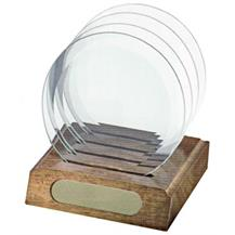 Coaster Set  - Circle Glass (Walnut Base)