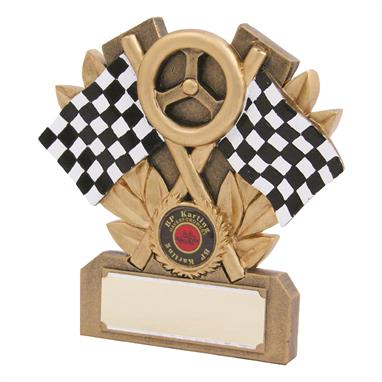 Motorsports Flag & Wheel Trophy