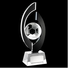 Two-Tone Black & Claear Glass Football Trophy