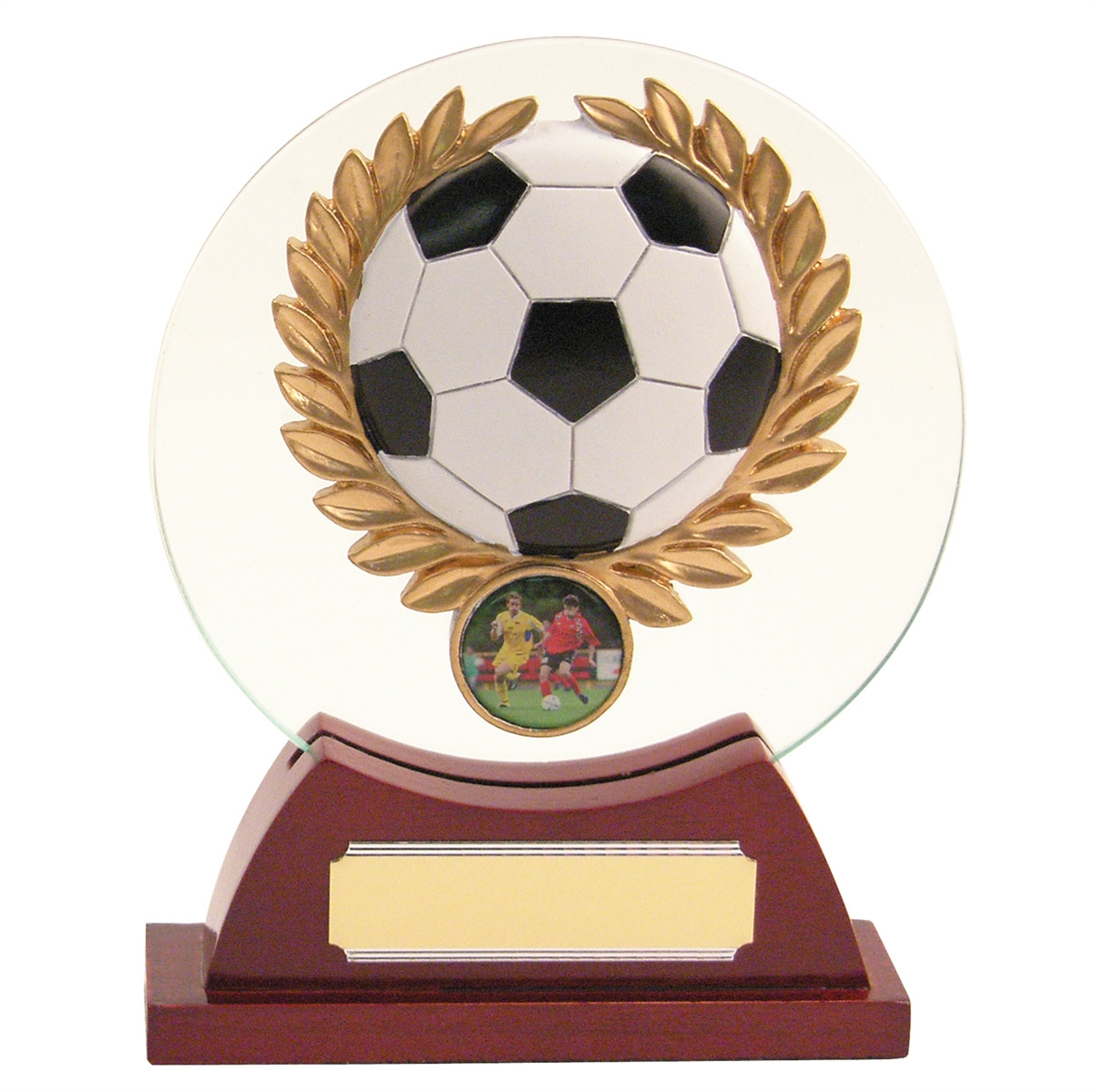 Football Round Glass Trophy zoomed