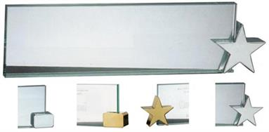 Jade Glass Name Plate with Corner Holder