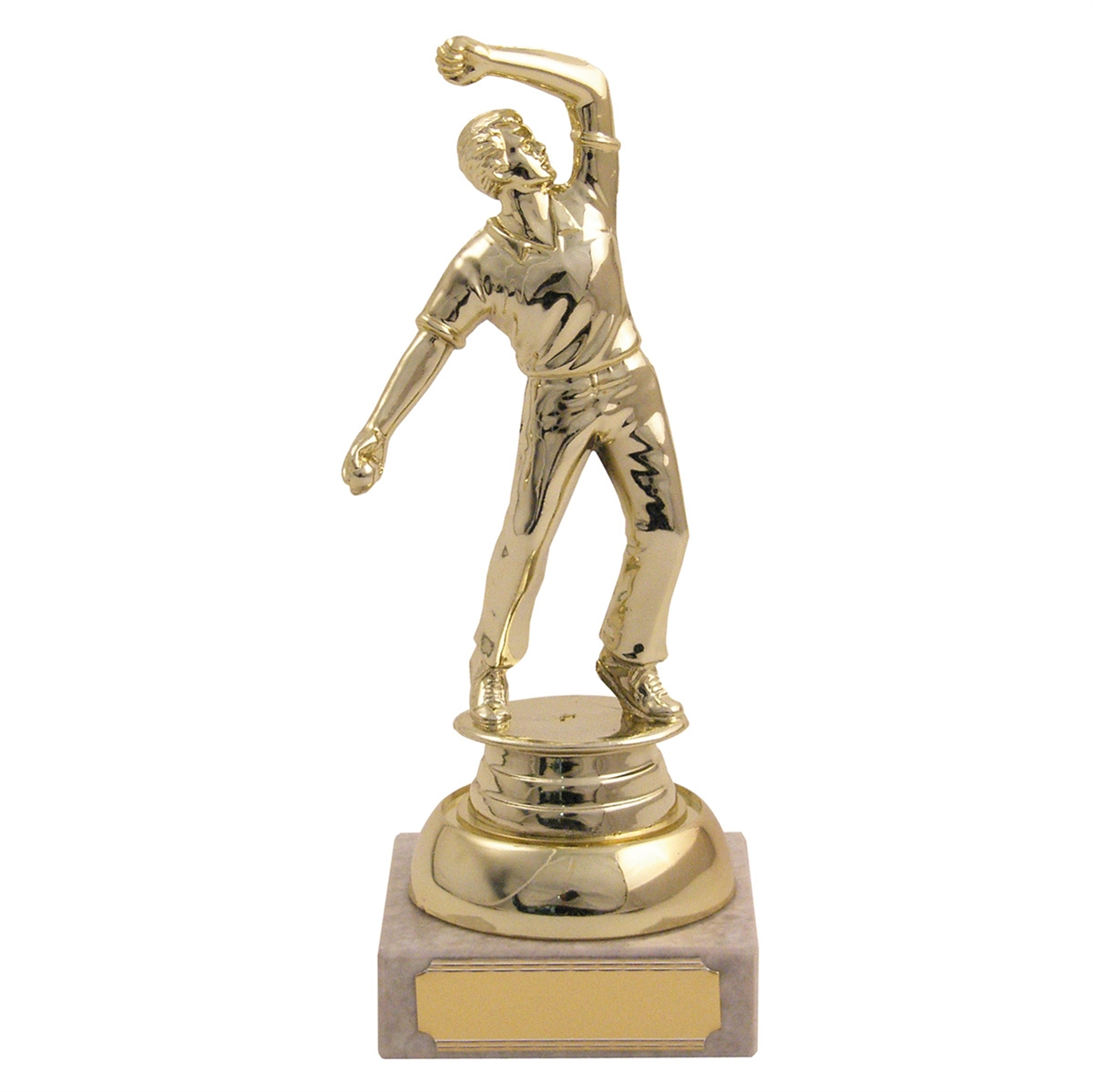 Cricket Action Bowler Trophy zoomed