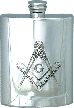 Masonic Hip Flask with 'G' - 6oz