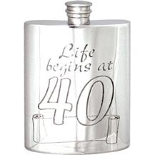 Pewter Hip Flask - Life Begins at 40
