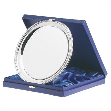 Silver Plated Round Salver & Box