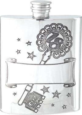 Pewter Hip Flask - 18th Birthday with Key
