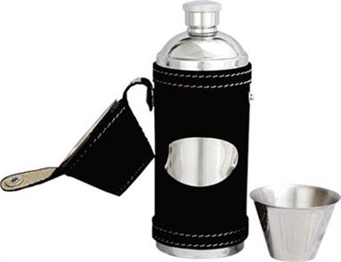 Leather Bound Stainless Steel Hunting Flask - Black