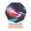 Beautiful Glass Football Octagon Trophy