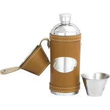 Leather Bound Stainless Steel Hunting Flask - Tan
