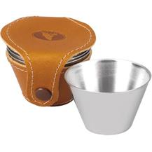 Four Stainless Steel Drinking Cups with Leather Case - Tan