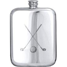 Stamped Pewter Hip Flask - 'Crossed Clubs'