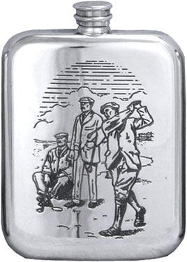 Stamped Pewter Hip Flask - 'Golfers'