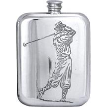 Stamped Pewter Hip Flask - 'American Golfer'