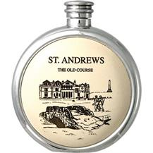 Round Pewter Scrimshaw Hip Flask - 'St.Andrews'