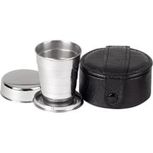 Stainless Steel Collapsable Travel Cup in Leather Case - Black