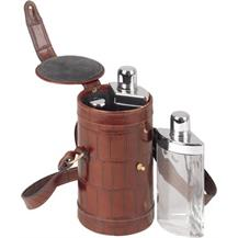 Stainless Steel Picnic Flask Set Encased in a Crocodile Style Leather Carrying Case - Brown