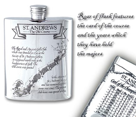Pewter 'Golf Course' Hip Flask - 'St.Andrews'