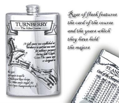 Pewter 'Golf Course' 8oz Hip Flask - 'Turnbery'