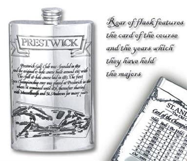 Pewter 'Golf Course' 8oz Hip Flask - 'Prestwick'