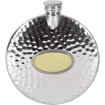Pewter 4oz Round Slimline Flask - Hammered