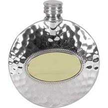 Pewter 3oz Round Slimline Flask - Hammered
