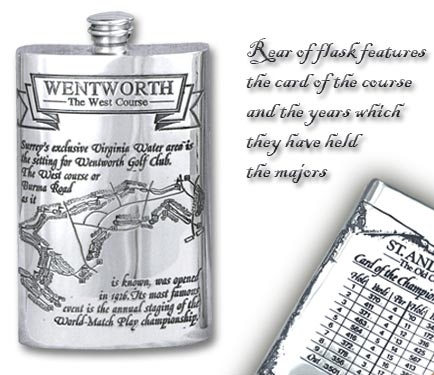 Pewter 'Golf Course' 8oz Hip Flask - 'Wentworth''
