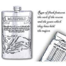 Pewter 'Golf Course' 8oz Hip Flask - 'Muirfield'