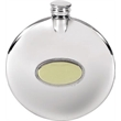 Pewter 4oz Round Slimline Flask - Plain