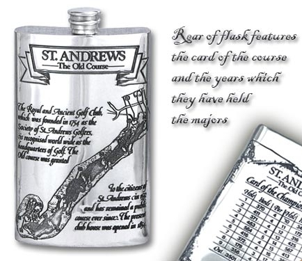 Pewter 'Golf Course' 8oz Hip Flask - 'St.Andrews'