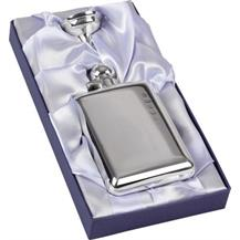 Hallmarked Silver Hip Flask with Captive Top