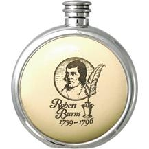 Round Pewter Scrimshaw Hip Flask - 'Scottish: Robert Burns'