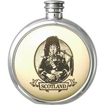 Round Pewter Scrimshaw Hip Flask - 'Scottish: Piper'