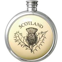 Round Pewter Scrimshaw Hip Flask - 'Scottish: Thistle'