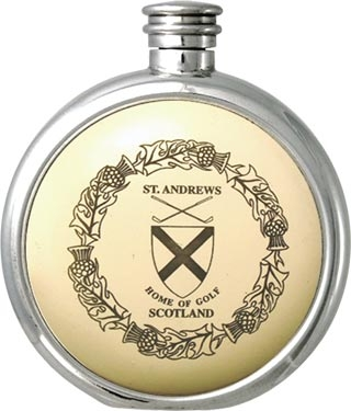 Round Pewter Scrimshaw Hip Flask - 'Scottish: St.Andrews Home of Golf'
