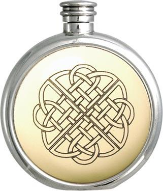 Round Pewter Scrimshaw Hip Flask - Celtic Knot