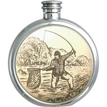 Round Pewter Scrimshaw Hip Flask - Fishing