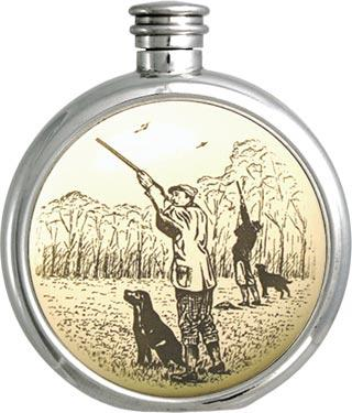 Round Pewter Scrimshaw Hip Flask - Shooting