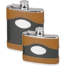 Stainless Steel Leather Bound Captive Top Hip Flask - Two Tone